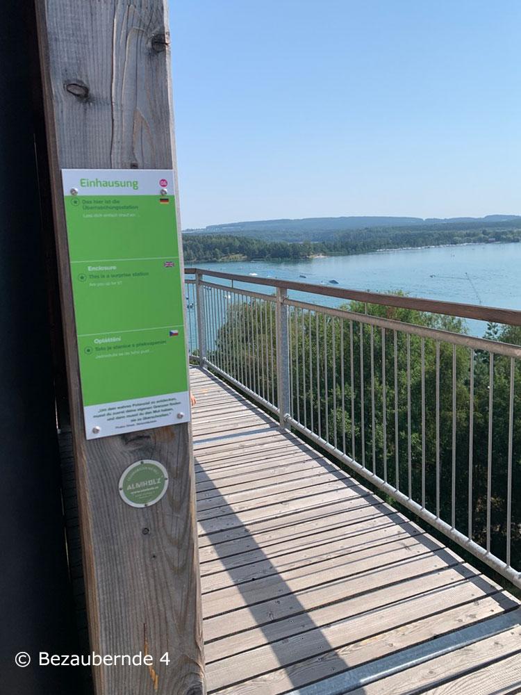 Ausblick von den Stationen für die Familie in der Erlebnisholzkugel auf den Steinacher See